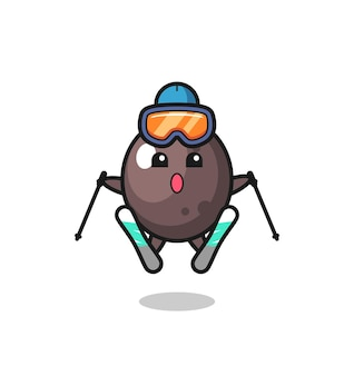 Zwart olijfmascottekarakter als skispeler, leuk stijlontwerp voor t-shirt, sticker, logo-element