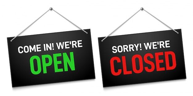 Zwart open en gesloten teken. donkere winkeldeurborden, kom binnen en sorry dat we buiten de uithangbordillustratie zijn gesloten