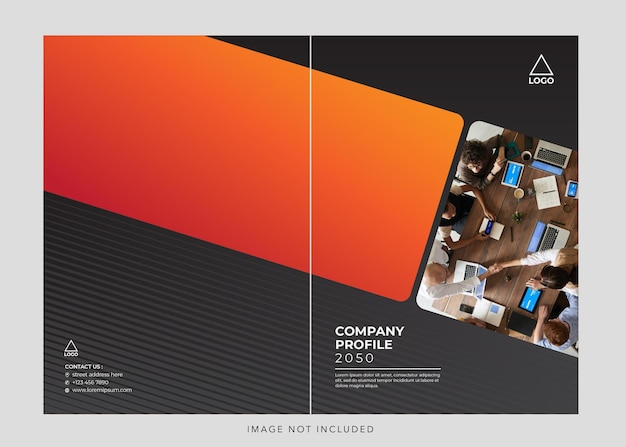 Zwart oranje zakelijke bedrijfsprofiel cover