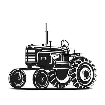 Zwart oud tractorsilhouet op witte achtergrond