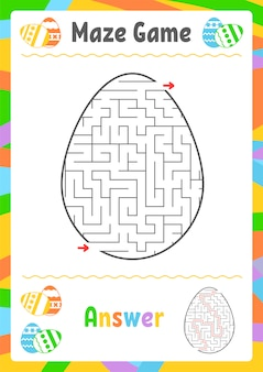 Zwart ovaal labyrint. werkbladen voor kinderen. activiteitenpagina. spelpuzzel voor kinderen.
