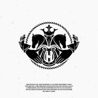 Zwart paard illustratie logo premium