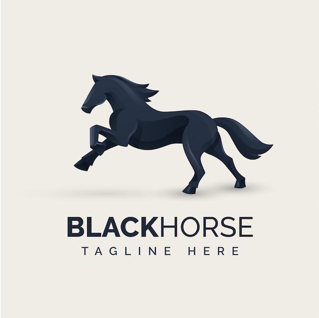 Zwart paard logo concept
