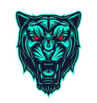 Zwart panterkop mascotte logo