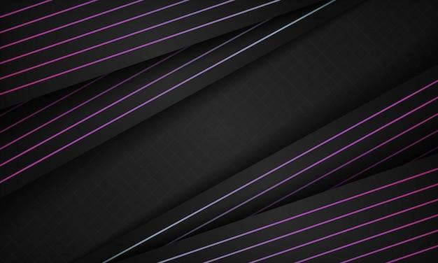 Zwart papier stijl achtergrond met paarse lijn
