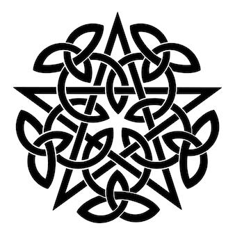 Zwart pentagram met keltische knopen. vector illustratie
