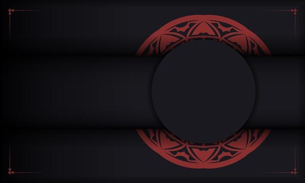 Zwart-rode achtergrond met luxe vintage ornamenten en plaats voor uw tekst en logo. drukklaar ansichtkaartontwerp met griekse ornamenten.