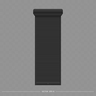 Zwart rolluik op het eurovenster. realistisch eurovenster met rolluikenvector
