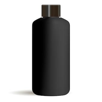 Zwart rond cosmetisch flesmodel met zwarte dop. schoonheidsmiddelen
