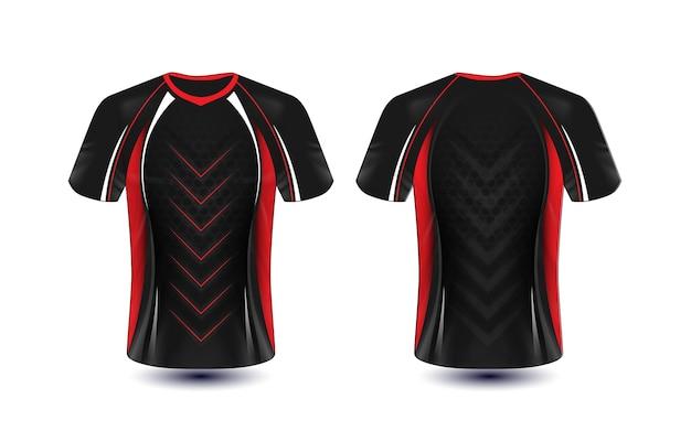 Zwart rood en wit lay-out e-sport t-shirt ontwerpsjabloon