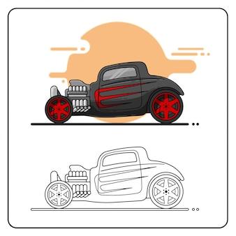 Zwart rood hotrod eenvoudig