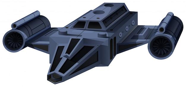 Zwart ruimteschip dat op wit vliegt