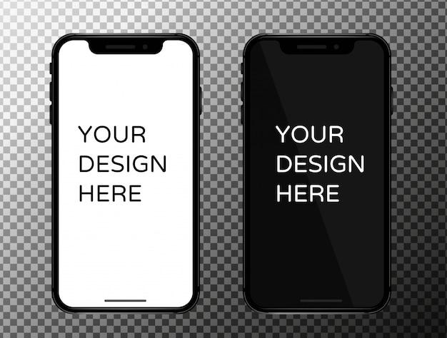 Zwart scherm voor mobiele telefoon met een dunne rand