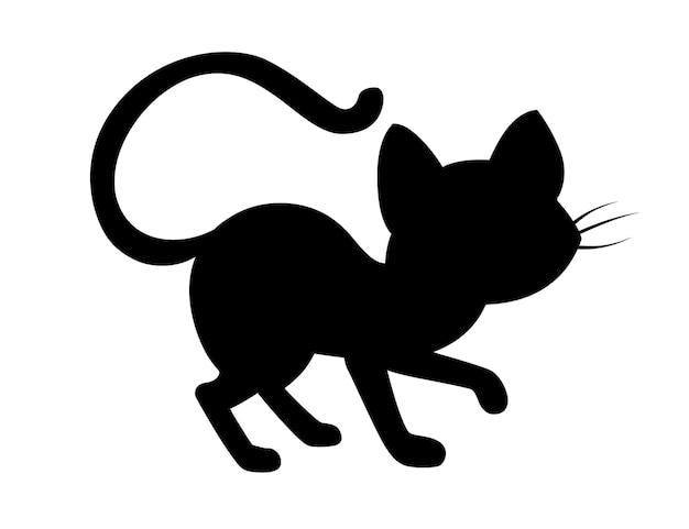 Zwart silhouet schattig schattig zwarte kat cartoon dierlijk ontwerp platte vectorillustratie op witte achtergrond.