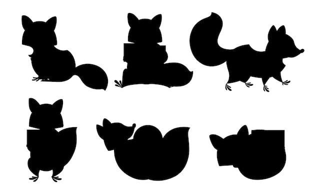 Zwart silhouet. schattige cartoon wasbeer set. grappige wasberencollectie. emotie kleine wasbeer. cartoon dier karakter ontwerp. vlakke afbeelding geïsoleerd op een witte achtergrond.