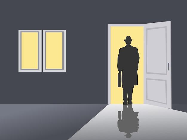 Zwart silhouet van een zakenman die de deur uitloopt. buiten de deur is geel