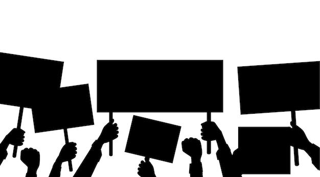 Zwart silhouet van handen met leeg protestbord, plakkaat sjabloon platte vectorillustratie op witte achtergrond