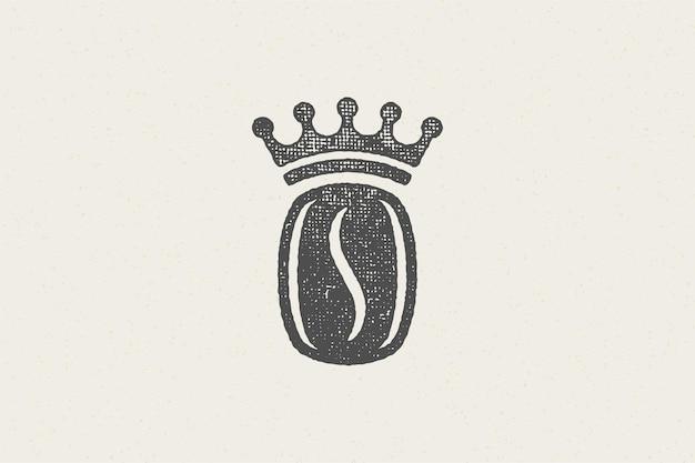 Zwart silhouet van koffieboon met kroon van hoge kwaliteit drankje hand getrokken stempel effect
