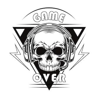 Zwart spel over vectorillustratie. vintage dood hoofd of schedel van gamer in hoofdtelefoons