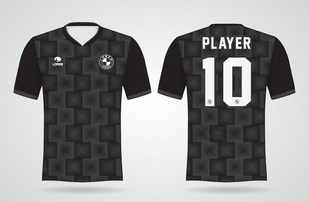 Zwart sportshirt sjabloon voor teamuniformen en voetbal t-shirtontwerp