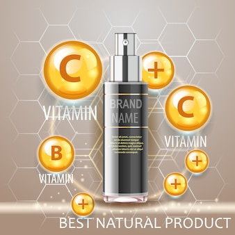 Zwart spuitfles realistisch concept, vitaminekracht. natuurlijk cosmetisch product.