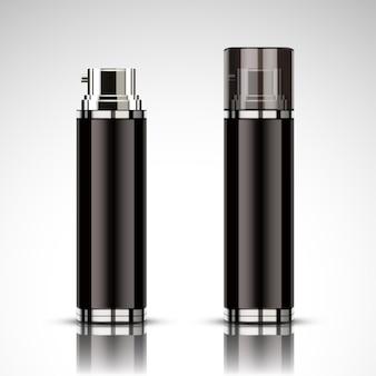 Zwart spuitflesmodel, leeg kosmetisch flessenmalplaatje dat in 3d illustratie wordt geplaatst