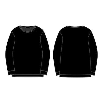 Zwart sweatshirt geïsoleerd geïsoleerd. voor- en achterkant technische schets.
