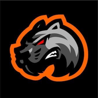 Zwart tijger mascotte gaming logo
