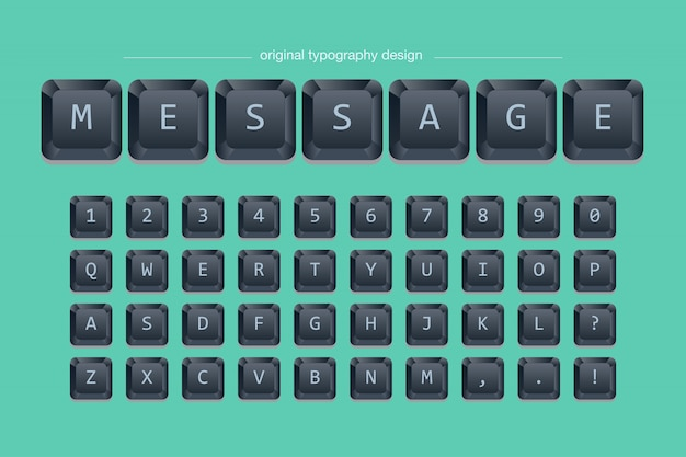 Zwart toetsenbord typografieontwerp