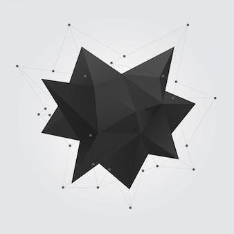 Zwart veelhoekig geometrisch vormcijfer