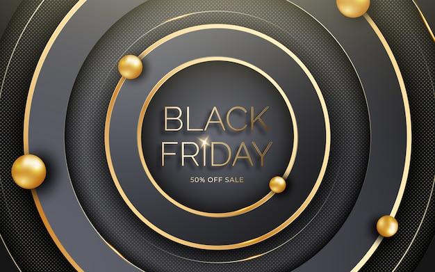 Zwart vierkant frame met gouden glitters. black friday-verkoopsjabloon.
