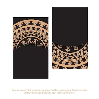 Zwart visitekaartje met bruin abstract patroon