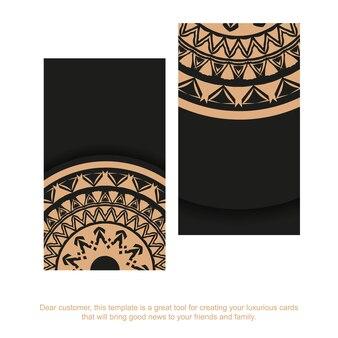 Zwart visitekaartje met bruin vintage patroon