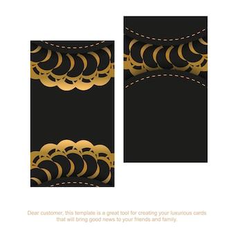 Zwart visitekaartje met gouden grieks patroon