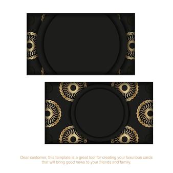 Zwart visitekaartje met gouden indiaas patroon