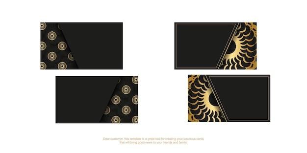 Zwart visitekaartje met gouden luxe patroon