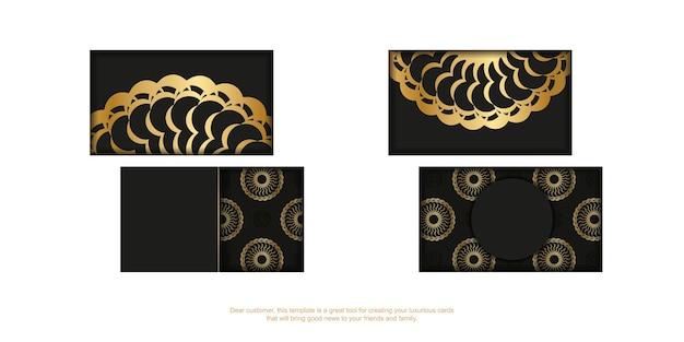Zwart visitekaartje met gouden luxe versieringen