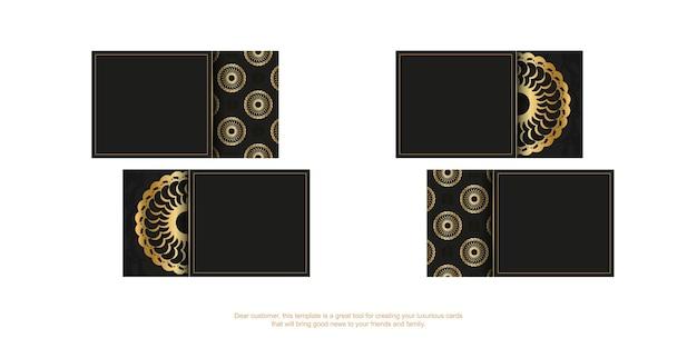 Zwart visitekaartje met gouden vintage patroon