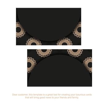 Zwart visitekaartje met luxe bruin patroon voor uw merk.