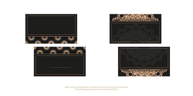 Zwart visitekaartje met luxe bruine ornamenten voor uw merk.