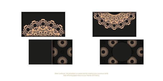 Zwart visitekaartje met luxe bruine ornamenten voor uw persoonlijkheid.