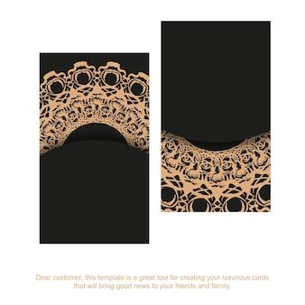 Zwart visitekaartje met luxueus bruin patroon voor uw zaken.
