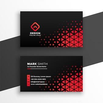 Zwart visitekaartje met rode driehoeksvormen