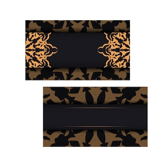 Zwart visitekaartjeontwerp met luxe patronen. vector visitekaartjes met plaats voor uw tekst en vintage ornamenten.
