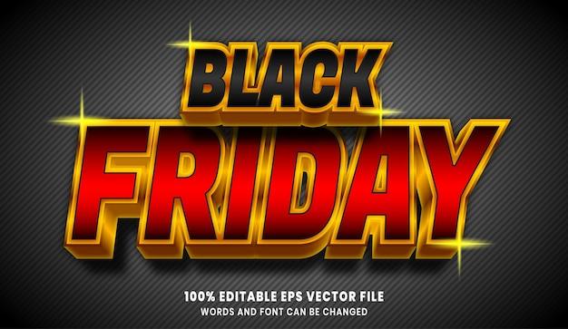 Zwart vrijdag 3d bewerkbaar tekststijleffect