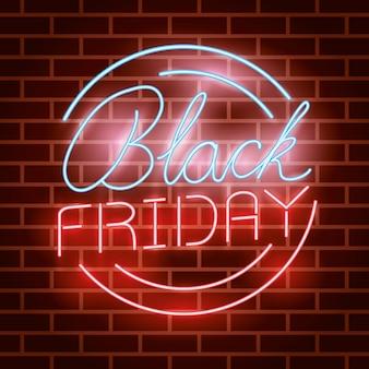 Zwart vrijdag circulair neonlichtenetiket