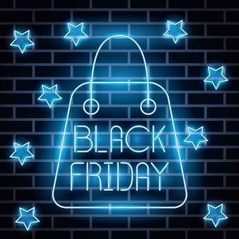 Zwart vrijdag neonlichten label met boodschappentas