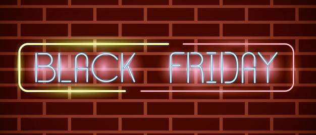 Zwart vrijdag neonlichten label