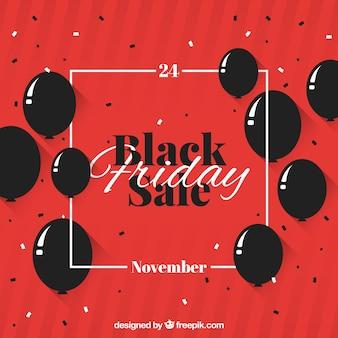Zwart vrijdag ontwerp met ballonnen en frame