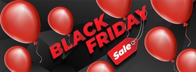 Zwart vrijdagontwerp met rode realistische ballons